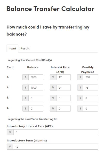 A Balance Transfer Calculator Can Help You Choose The Best Balance Transfer Credit Card