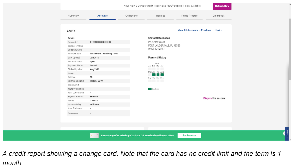 A Credit Report Showing A Charge Card  Note That The Card Has No Credit Limit And The Term Is 1 Month