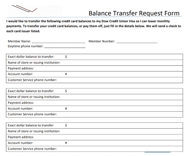 A Typical Balance Transfer Request Form