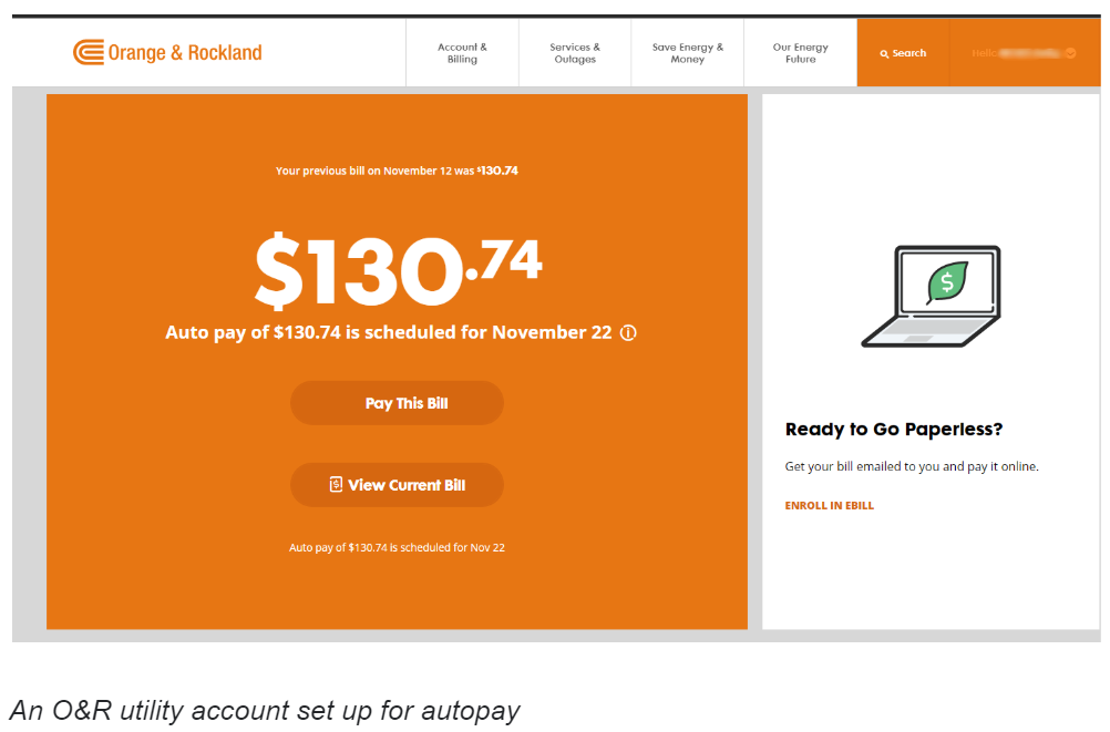 An Or Utility Account Set Up For Autopay