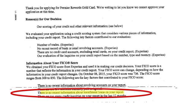 Report stating denial for credit card.