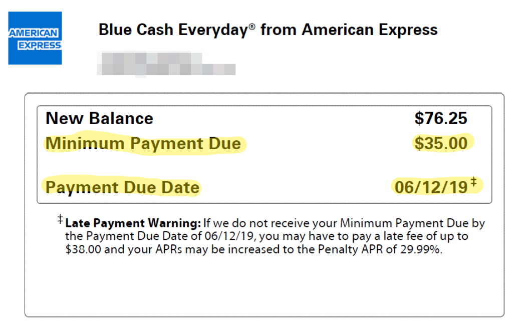 Credit Card Statement Showing Payment Information