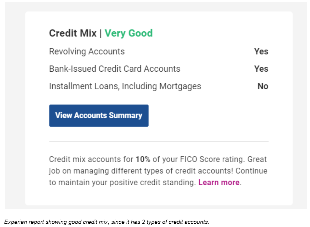 Experian Report Showing Very Good Credit Mix Since It Has 2 Types Of Credit Accounts