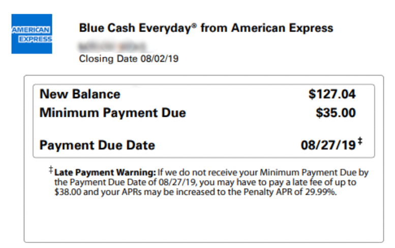 A Bill Showing Billing Cycle Closing Date And Due Date