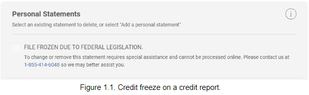 Credit freeze on a credit report.