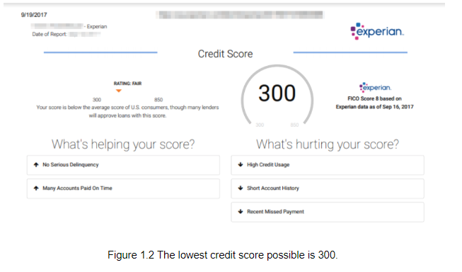 The lowest credit score possible is 300.