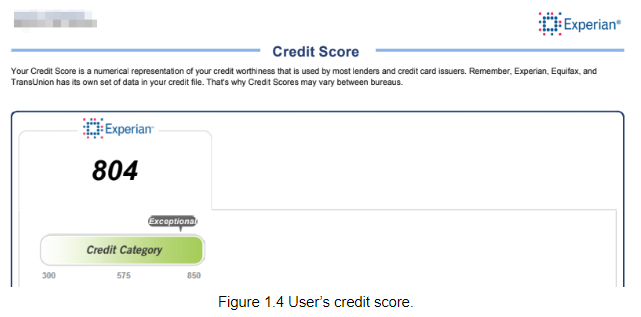 A user's high credit score due to several accounts and a lot of account variety.