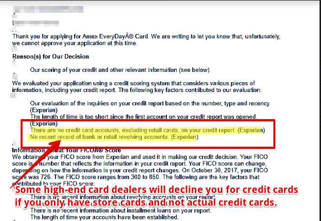 A rejection letter for card application.