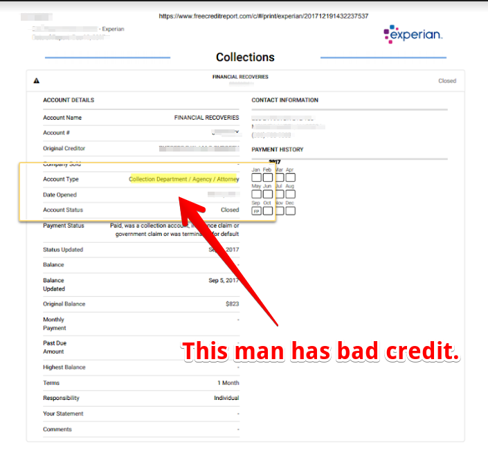 A credit report showing bad credit.